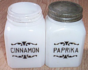 Milk Glass Paprika And Cinnamon Shakers
