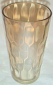 Hex Optic Carnival Tumbler Jeanette Glass Marigold