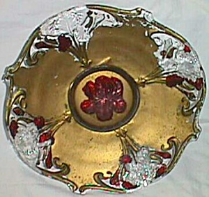 Antique Goofus Glass Console Bowl Iris (Image1)