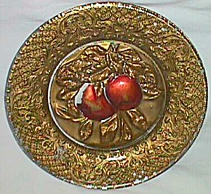 Antique Goofus Glass Plate 2 Apples in Center (Image1)