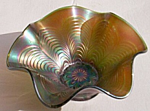 Fenton Carnival Glass Bowl Green Peacock Tail