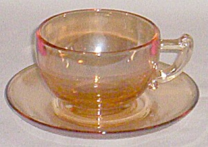 Art Deco Carnival Cup And Saucer Set Marigold
