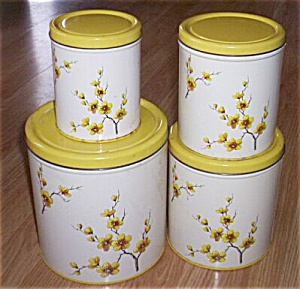 Vintage Tin Canister Set Yellow Blossoms & Tops (Image1)