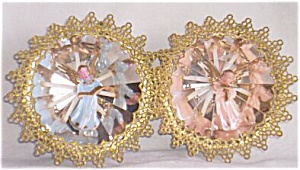 2 Vintage Christmas Ornaments Angel in a Reflection Free Shipping (Image1)