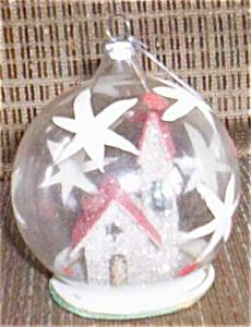 Glass Christmas Ornament Church Inside (Image1)