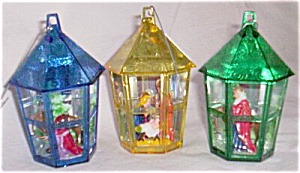 "Vintage Plastic ""Bird Cage"" Nativity Set Ornaments (Image1)"