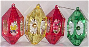 "4 Vintage Plastic ""Bird Cage"" Christmas Ornaments (Image1)"
