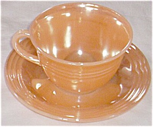Fire King Peach Luster Cup & Saucer Three Bands (Image1)