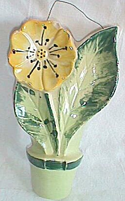 Unusual Pottery Wall Plaque Sunflower in a Pot (Image1)