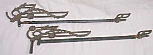 Pair Antique Sliding Curtain Rods Detailed Ironwork (Image1)