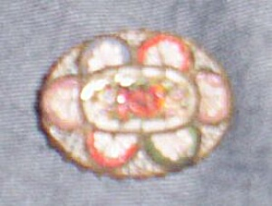 Stunning Vintage Glass Mosaic Floral Brooch Italy (Image1)