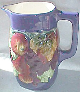 Antique Czech Majolica Pitcher Fruit Cobalt Blue Bern (Image1)