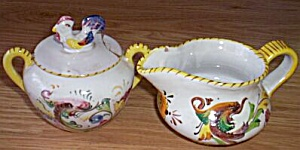 Vintage Italian Pottery Cream Sugar Set (Image1)