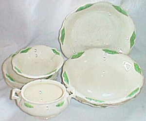 Homer Laughlin Virginia Rose 11 Pc Set Wings In Green
