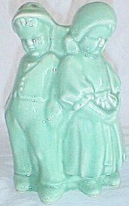 Darling Majolica Vase Figural Girl & Boy By Apple Tree