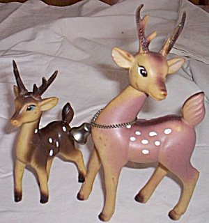 Pair of Vintage Rubber Deer Figurines (Image1)