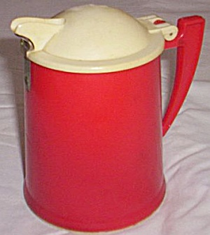 50's Red White Plastic Syrup Pitcher (Image1)