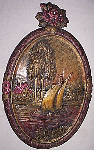 Antique Embossed Wall Hanging Sailboat
