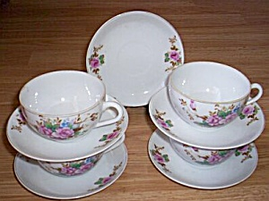 4 Occupied Japan Cups and Saucers Roses (Image1)