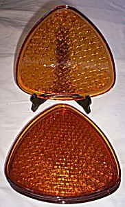 4 Indiana Glass Daisy And Button Snack Plates 1950