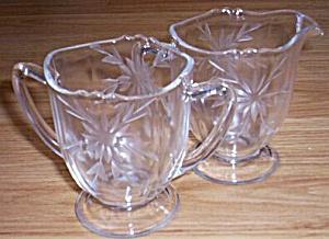 Stunning Cut Glass Cream and Sugar Snowflake (Image1)