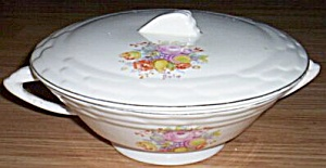 Antique Covered Serving Dish Floral Transfer (Image1)