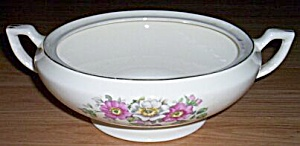 Antique Covered Serving Dish Wild Roses (Image1)