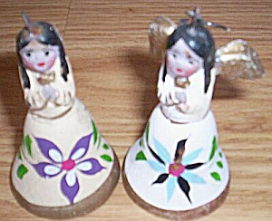 Pair Pottery Angels Bell Christmas Ornaments (Image1)
