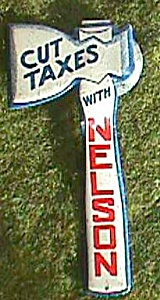 Cut Taxes Nelson Fold Over Political Button Hatchet Free Shipping (Image1)