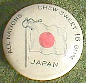 """All Nations Chew Sweet 16 Gum...Japan""  Lapel Pin Free Shipping (Image1)"