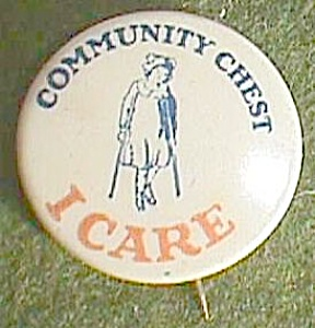 Antique Community Chest �I Care� Pin Girl on Crutches Free Shipping (Image1)