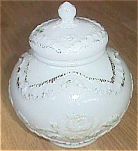 Antique Rose Jar w/ Lid Rose and Ruffled Drape Free Shipping (Image1)