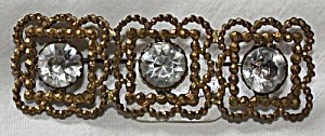 Antique Brooch/pin 3 Rhinestone On Rectangle