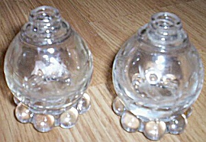 Pair Imperial Candlewick Shakers Cut Floral Pattern