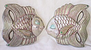 1954 Miller Art Studio Chalkware Fish Wall Plaques Boy Girl