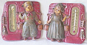 Jack And Jill Chalkware Wall Weather Plaques