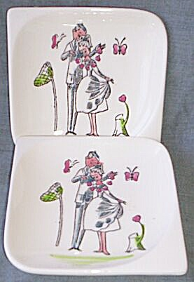 Pair Funny 50's Bone Dishes Butterfly Catching Couple