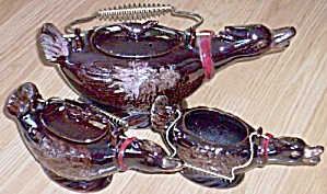 5 Piece Teapot Red Clay Exaggerated Ducks (Image1)