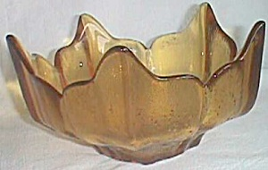 Vintage Amber Viking Art Glass Nut Bowl