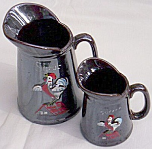 Antique Syrup & Cream Pitcher Rooster on a Roof (Image1)