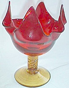 Amberina Compote Folded Top Twisted Stem (Image1)