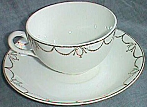 Dresden China Cup & Saucer Gold Star Swags