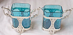 Cobalt Blue Tall Cream Sugar Set England