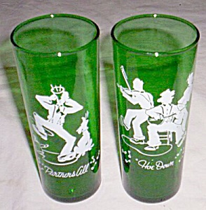 Pair Green Enameled Ice Tea Glasses Hoe Down (Image1)
