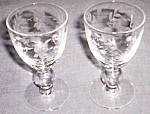 Pair (2) Beautifully Floral Etched Cordials Free Shipping (Image1)