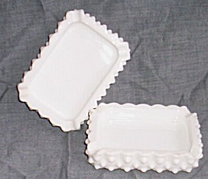 Pair (2) Fenton Hobnail Ashtrays