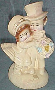 Vintage Chalkware Bookend Children Married Couple (Image1)