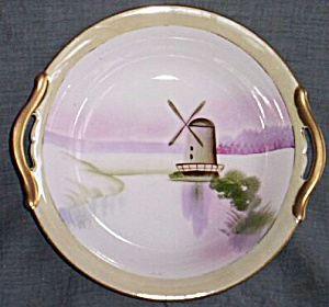 Meito China Hand Painted Purple Windmill Bowl (Image1)