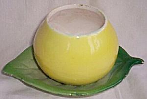 Vintage Lefton Fruit Pot Lemon on a Leaf (Image1)