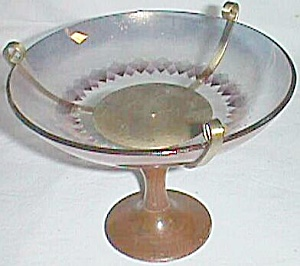 Very Retro Funky 50's Compote Glass Top Wood Stem (Image1)